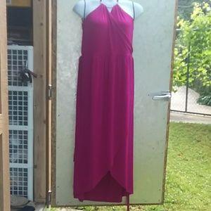 Floor length halter dress with wrap style skirt